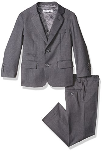 Youth Micro Poly Pant - Isaac Mizrahi Boys' Little Textured 3pc Solid Suit, Charcoal, 6