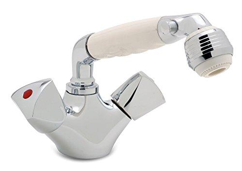 (Ambassador Marine Trinidad- Head/Shower Combo Faucet (Classic White Sprayer, 6-Feet Stainless Steel Hose), Chrome/White )