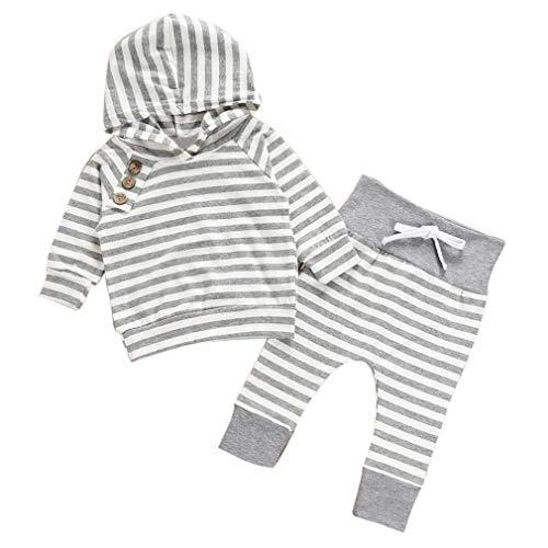 Noopvan Newborn Toddler Baby Boy Girl Hooded Stripe T-Shirt Tops+Pants Set