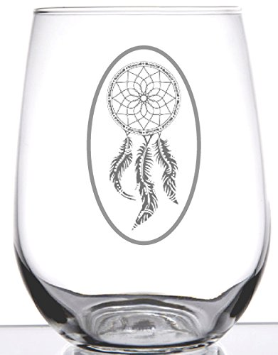 Native American - 17oz Stemless Wine Glass - Dream Catcher - Etched Glass - Unique Gift -for any wine lover - Birthday, Housewarming, Wedding or add to your bar collection