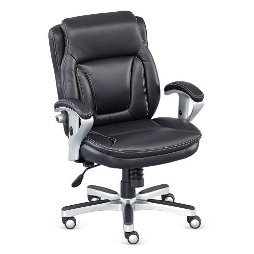(Black Faux Leather Petite Low Height Computer Chair - NBF Signature Series Status Collection)