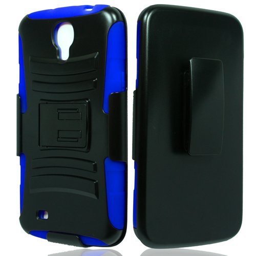 Samsung Galaxy Mega 6.3, GT-I9200 I9205 i527 (AT&T, Sprint, MetroPCS, U.S. Cellular) Case, Galaxy Wireless Hybrid Dual Layer Armor Phone Case Cover with Kickstand, Holster Belt Clip - Blue (From Case Phone Metro Pcs Mega)