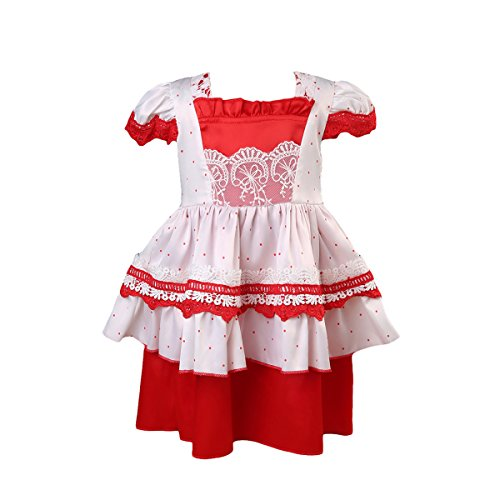 Toddler Girls' Princess Costume Halloween Christmas Dresses Lace Tulle Baby Tutu Dress (3-4Y, Red&White)