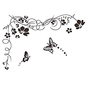 Removable Diy Black Nursery Flowers Vine and Beautiful Butterfly Wall Sticker