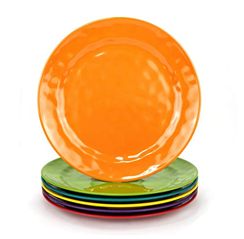 (Melamine Plates set - 8inch 6pcs 100% Melamine Salad Plates for Everyday Use, Break-resistant and Lightweight, Multicolor)