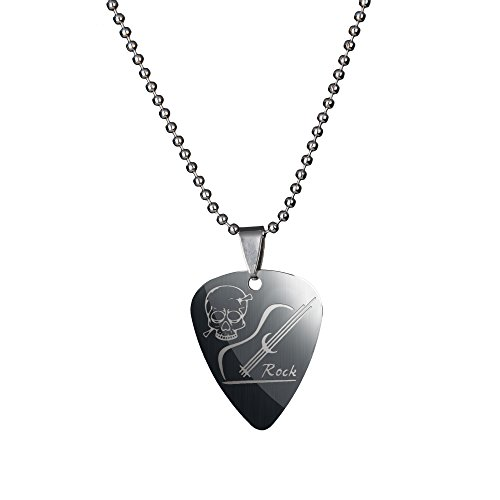 Silver Stainless Steel Guitar Picks Necklace Pick Pendant Love Heart Ball (Steel Guitar Necklace)