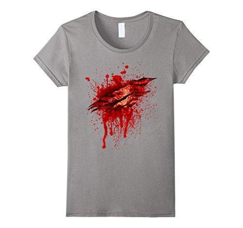 Womens Halloween Costume Gashing Bloody Wound T Shirt Small Slate