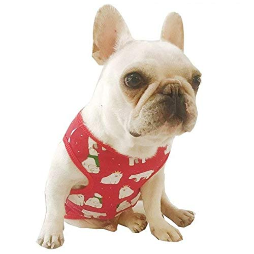 (Stock Show Pet Dog Summer Vest, Cute Bear Pattern Teddy French Bulldog Dog 100% Cotton Fashion T-Shirt Breathable Sleeveless Summer Dog Clothes for Small Medium Dogs Puppy,)