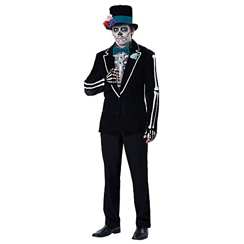 Sugar Skull Halloween Costume Male (California Costumes Men's El Novio Muerto, Black/Turquoise,)