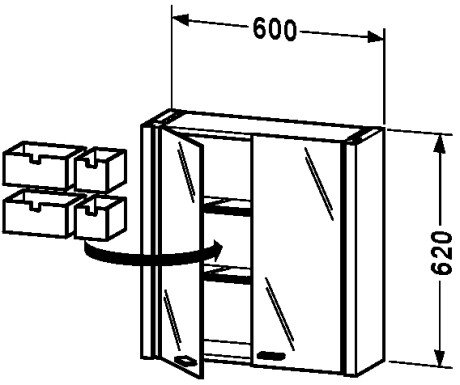 Glass Duravit Cabinet (Mirror cabinet White High Gloss, d x w: 200x600)