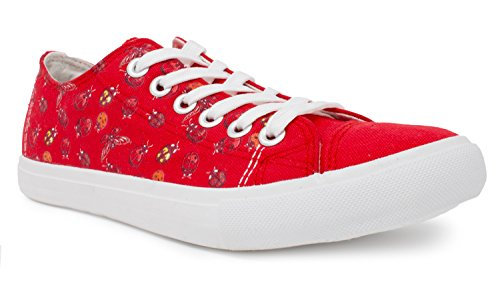 Ladybug Sneakers | Cute Fun Gym Trainer Lady Bug Canvas Tennis Shoe - Women Men - (Lowtop, US Men's 6, US Women's (Costumes Ann Arbor Area)