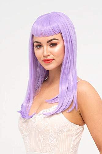 Peluca larga lila con flecos cortos, rectos, serafina: Amazon.es: Belleza