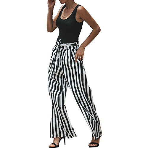GETHIS Women's Elegant Belted Casual Palazzo Pants Striped High Waisted Flowy Wide Leg Pants with Belt (Black White Stripe, L)