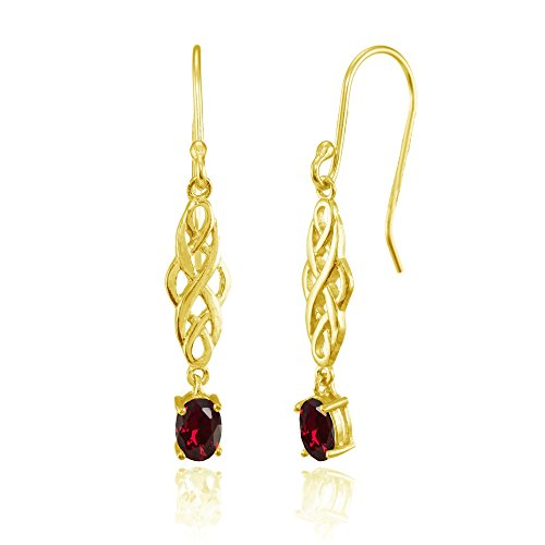 Ruby Celtic - Yellow Gold Flashed Sterling Silver Created Ruby Oval Celtic Knot Drop Dangle Earrings