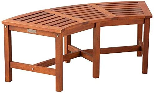 Eucalyptus Solid Wood Fire Pit Curved Bench 44