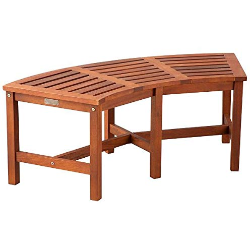 Garden Curved Bench (Eucalyptus Solid Wood Fire Pit Curved Bench 44