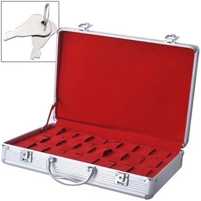 Caja Maleta Expositor para 24 relojes de pulsera Aluminio con ...