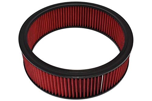 "A-Team Performance Air Filter Element Air Cleaner High Flow Replacement Washable and Reusable Round Cotton Fiber Compatible with Buick Chevrolet GMC Ford Mopar Oldsmobile Pontiac Red 14"" x 4"" Red"