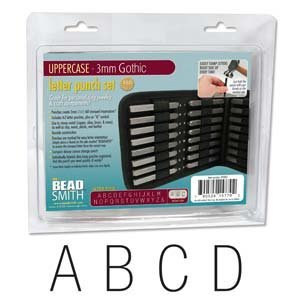 27 Piece Uppercase Gothic Font Alphabet Metal Punch Set - 3mm -