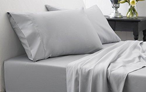 Laxlinens Drap Plat avec une taie d'oreiller, double, petit double, gris argenté massif 350 fils en coton égypcravaten