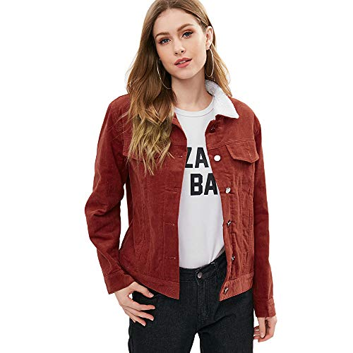 ZAFUL Women's Vintage Faux-Shearling Sherpa Button Down Corduroy Jacket (Red Brown, S)