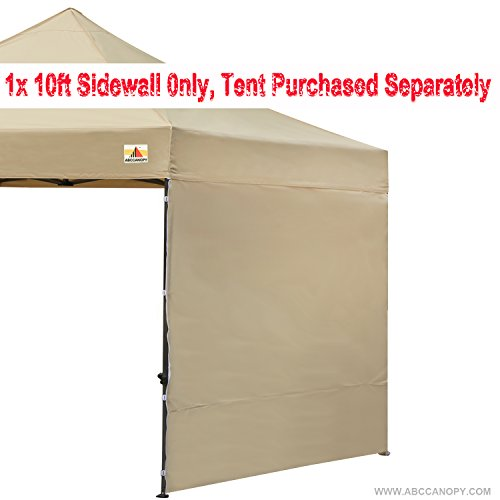 ABCCANOPY 15+colors 10' Sun Wall for 10'x 10' straight leg pop up canopy Tent, 10' Sidewall kit (1 Panel) with Truss Straps, (beige)