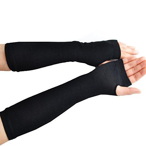 Jishen Women Pure Color Knitted Soft Wrist Arm Fingerless Winter Warmer Gloves Black