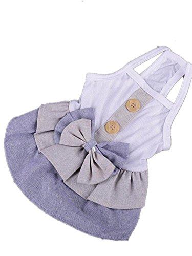 Easter Eggs Dog Bandana - Axchongery Pet Dress, Summer Dog British Button Costumes Small Puppy Bowknot Shirt (Blue, M)