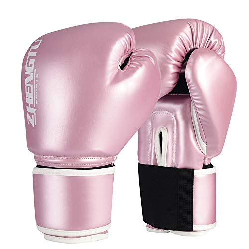 ZTTY Boxing Gloves Kickboxing Muay Thai Punching Bag MMA Pro Grade Sparring Training Fight Gloves for Men & Women (Y-Pink, 12oz)