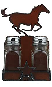 "Rustic Ironwerks Salt and Pepper Shaker Set and Holder- Horse - 4.5"" By 6.75"" By 2"""