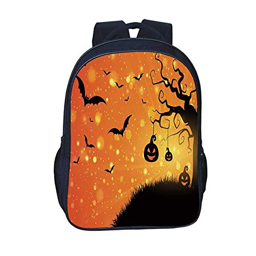 (Halloween Durable Backpack,Magical Fantastic Evil Night Icons Swirled Branches Haunted Forest Hill Decorative for School Travel,11.8