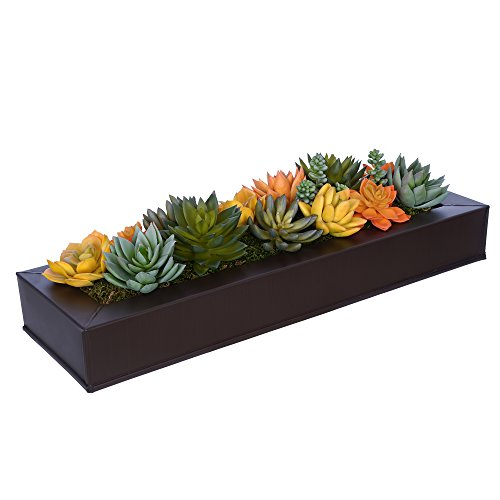 House of Silk Flowers Artificial Orange/Yellow Succulents in Matte Brown Zinc Vase