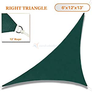 Sunshades Depot 6' x 12' x 13' Dark Green Sun Shade Sail 180 GSM HDPE Right Triangle Permeable Canopy Custom Size Available Commercial Standard