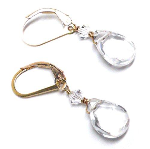 Swarovski Crystal Quartz Earrings (Quartz Crystal Briolette Gold-Filled Lever Back Earrings Swarovski Crystal)