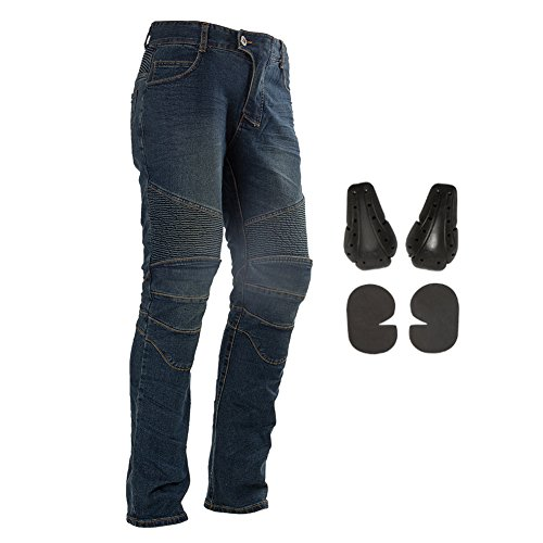 Men Motorcycle Riding Pants Motocross Off-Road Racing Kevlar Jeans Armor with 4 Knee Hip Protective Pads