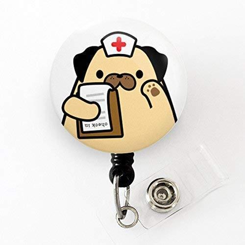 Happiness is a Pug Dog eating Pizza Retractable badge reel nurse badge holder teacher name badge