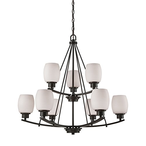 Elk Lighting CN170921 Casual Mission 9-Light Oil Rubbed Bronze with White Lined Glass Chandelier -