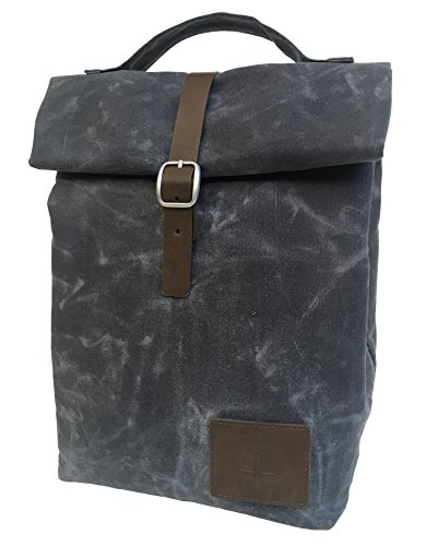Insulated Waxed Canvas Lunch Bag For Men, Women | Perfect For Work. Professional, Practical, Stylish | Reusable. Keeps Food Cold. Easy To Carry (Slate Gray)