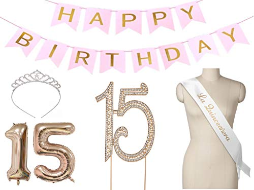 Quince Anos Sash - Luve Quinceanera Party Supplies Happy 15th Birthday Decoration with Cake Topper Happy Birthday Banner, 40inch Rose Gold 15 Number Balloons Set, La Quinceanera Sash in Spanish, Happy Birthday Banner and Tiara for mis quince accessories
