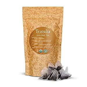 Teatulia Organic Oolong Tea Bag Bulk Pack, 50 Loose Leaf Premium Corn Silk Pyramid Teabags | Natural Caffeine & Award Winning Tea Aids in Weight Loss