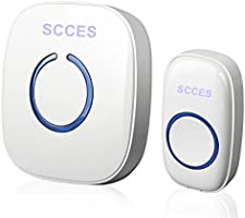 Wireless Doorbell, SCCES Portable Wireless DoorBell Chime Plug-in Push Button with LED Indicator Over 50 Chimes, Best...