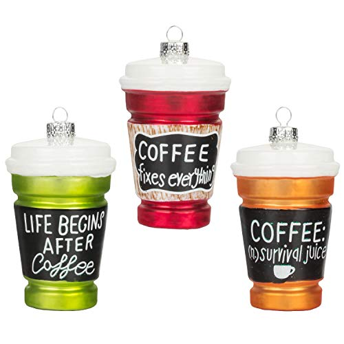 KI Store Glass Coffee Cup Ornaments for Christmas Tree Set of 3 Coffee Quotes Decorative Hanging Ornaments (Christmas For Quotes Ornaments)