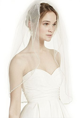 Top-Sexy Ivory 1 Tier 28''Elbow Length Short Bridal Veil Elbow Length Wedding Veil, 1 Tier with Beaded Edge 21 by Top-Sexy