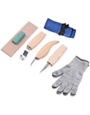 5pcs Wood Carving Tools Set+Cut Resistant Gloves,Spoon Carving Hook Knife, Wood Carving Whittling Knife, Chip Carving Detail Knife, Leather Strop and Polishing Compound (Blue)