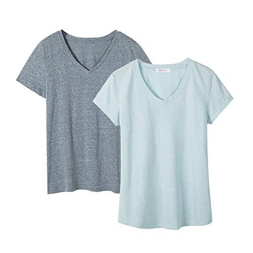 Dolcevida Women's Cotton Short Sleeve T Shirt V-Neck Tees (Pack of 2) (L, Smoky Blue&Light Blue)