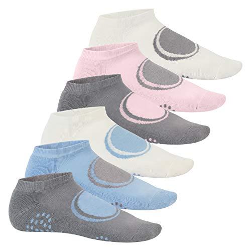 Footstar 6 Paar Damen & Herren Yoga Sneaker-Socken mit Frotteesohle