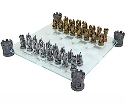 Kingdom of the Dragon Fantasy Glass Chess Set by Nemesis Now