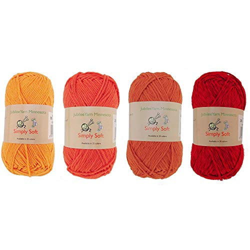 (Light Weight Simply Soft Yarn 100g - 50% Cotton 50% Polyester - 4 Skein Assorted Color Package - Shades of Orange)