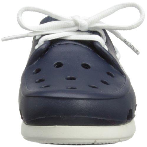 crocs Beach Line Boat Shoe Kids J 14405-69C-142 Unisex-Kinder Blau (Navy/White 462)