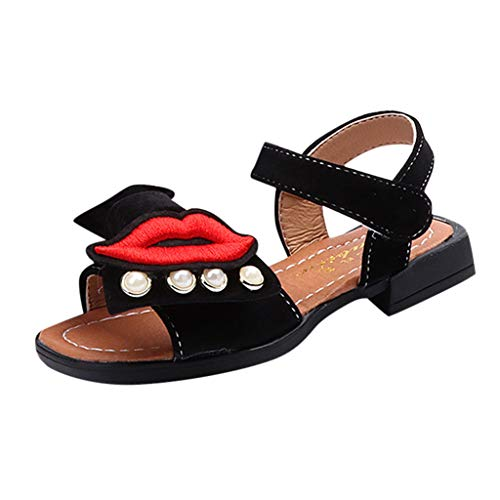 Bohemia Spice - Randolly Baby Shoes  Summer Children Girls Bohemia Casual Sandals Princess Flat Bow Lip Print Shoes Black